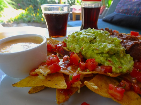 Nachos with freshly baked tortilla chips, black beans, and local avocado