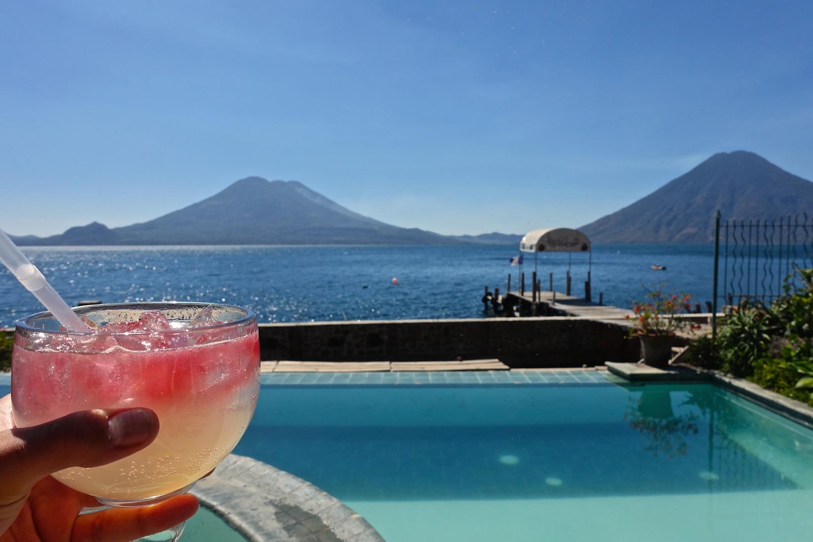infinity pool at club ven aca in jaibalito on lake atitlan guatemala