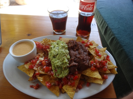 Delicious nacho lunch at Vulcano Lodge