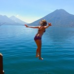 jumping from the dock at the nature reserve in san marcos lake atitlan