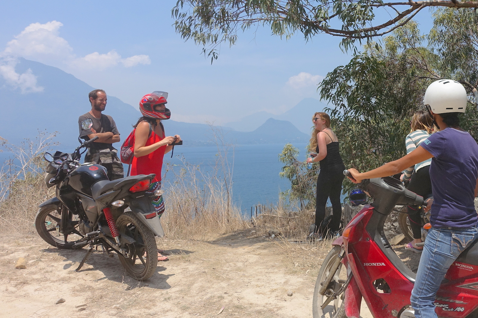 motorcycling to the hot springs on lake atitlan